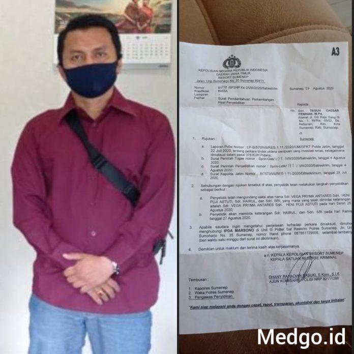 Pria Ini Berani Laporkan Kasatreskrim dan Penyidik Polres Sumenep